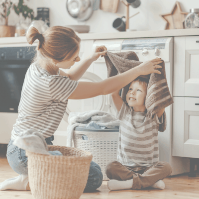 Mom Cleaning With Kid